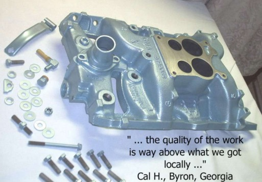 Pontiac manifold, bracket and hardware in Poncho Blue