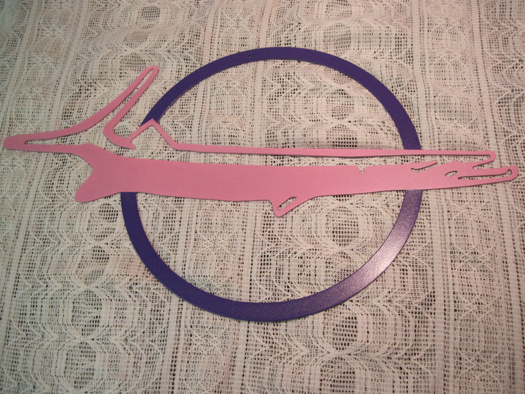 Our talents are NOT LIMITED to just car parts.  If it's metal and it's smaller than 7x4x3, I can probably customize it.  2-sided Barracuda emblem metal sign in Matte Pink and Purple Mirage