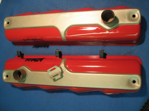Chrysler FirePower hemi valve covers in Pacific Silver and plug wire covers in Wilder Red over Super Chrome